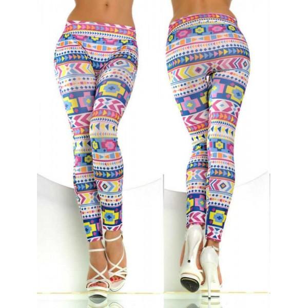 Legging tribal colore aztec azteque leggings skinny colorful printed ref-08