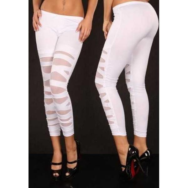 Legging blanc white leggings pant skinny fashion ref-04