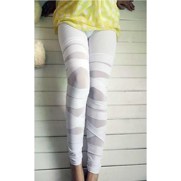 Legging blanc white leggings pant skinny fashion ref-05