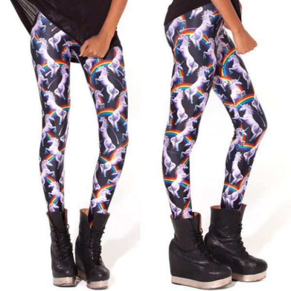 Legging punk grunge fantasy pop leggings skinny sexy unicorn licorne printed ref-09