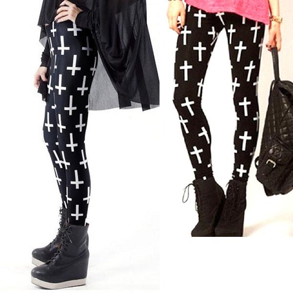Legging punk grunge religious pop leggings skinny sexy croix printed ref-10