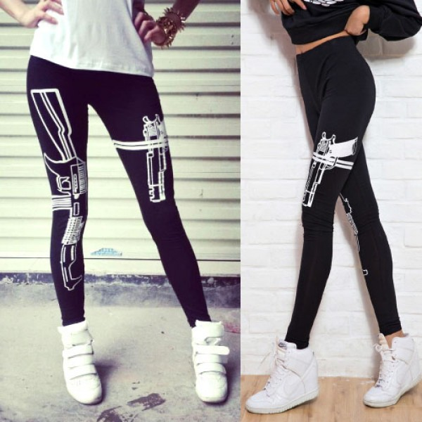 Legging punk grunge pop leggings skinny gun arme guns black ref-03