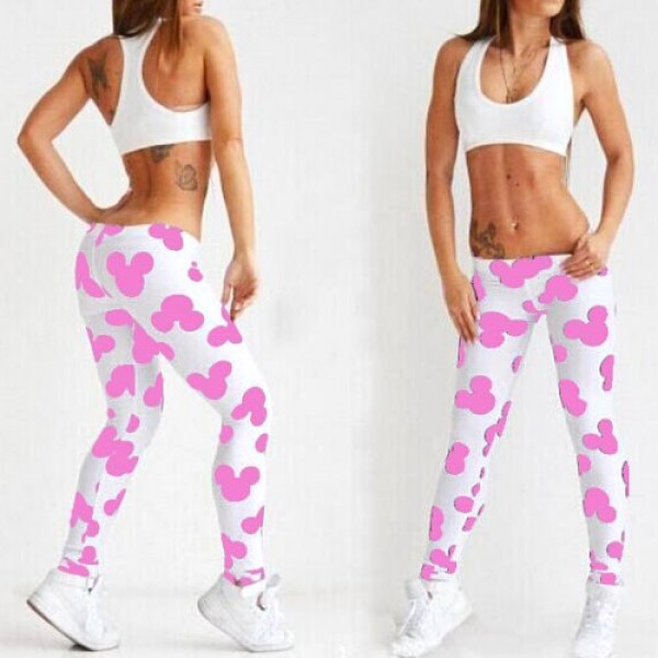 Legging sport fitness punk grunge pop leggings skinny mickey printed rose ref-05