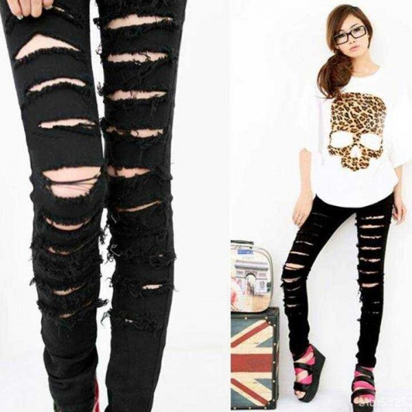 Legging troue dechire destroy ripped leggings sexy fashion ref-13