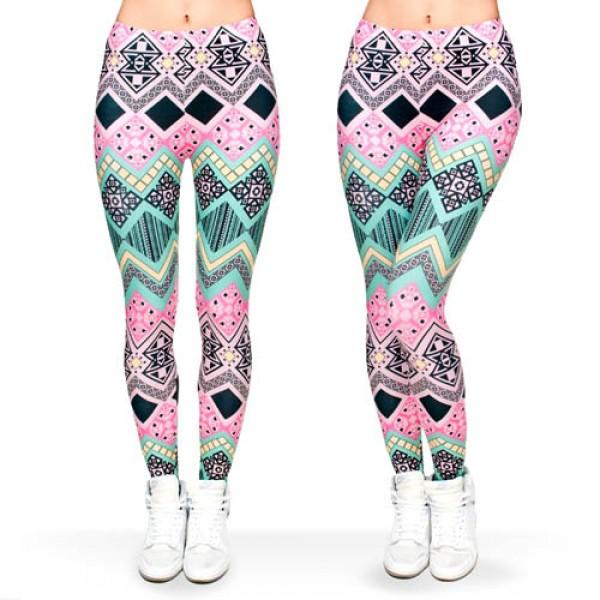 Legging azteque colore Aztec Tribal Rose Color Sport Fashion ref-23