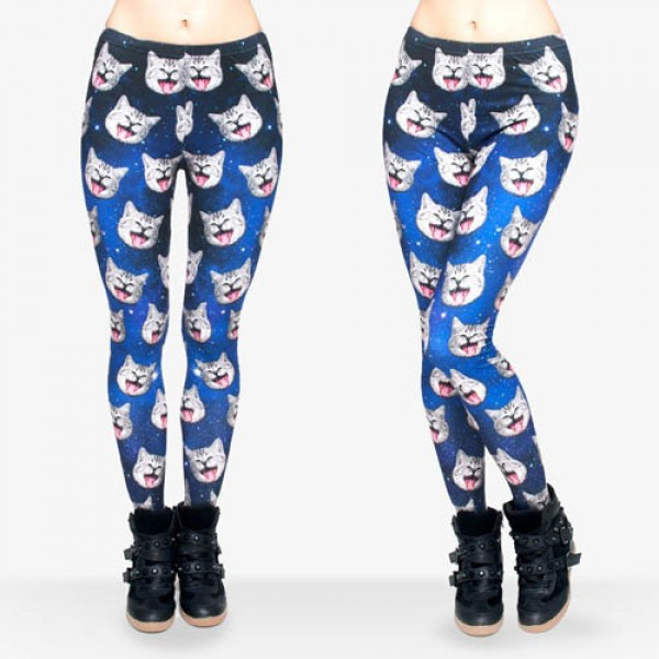 Legging imprime Chat Space Cat Funny Galaxy Print ref-15