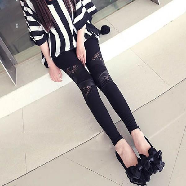 e89fa6cf611cb Legging simili cuir Dentelle Chic faux leather leggings sexy fashion pu ref- 03