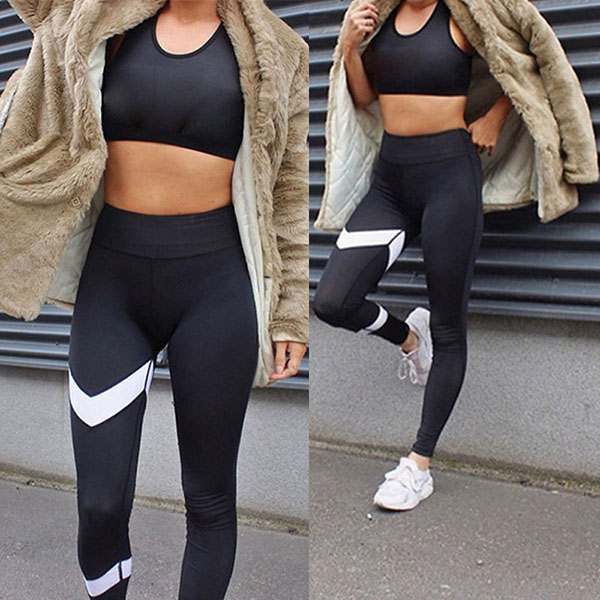 Legging fitness Squat Running Yoga Tendance Bande blanche sexy workout Noir ref-24