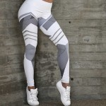 Legging fitness Squat Tendance Running Geometrique Fashion workout Gris blanc ref-23